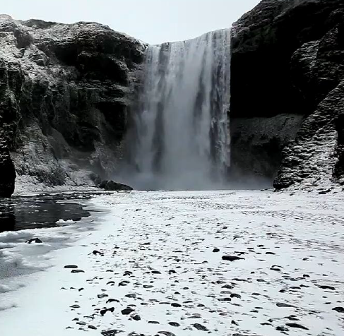 iceland ice waterfall